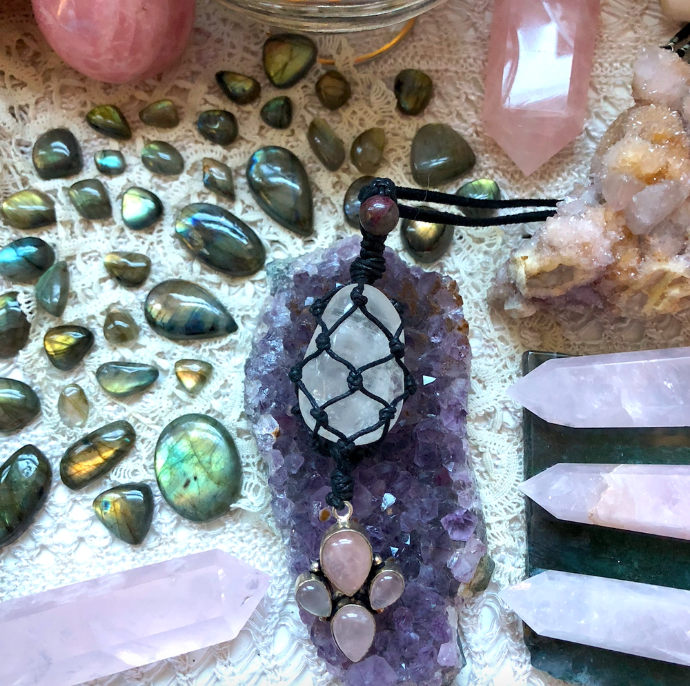 "Image of ""Beacon of Loving Strength"" // Pink Tourmaline, Quartz & Rose Quartz Heart Chakra Necklace"