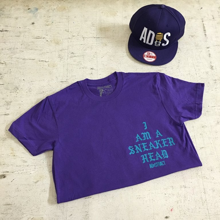 Image of I AM A SNEAKERHEAD (WHITE OR PURPLE /TURQ.) TSHIRT
