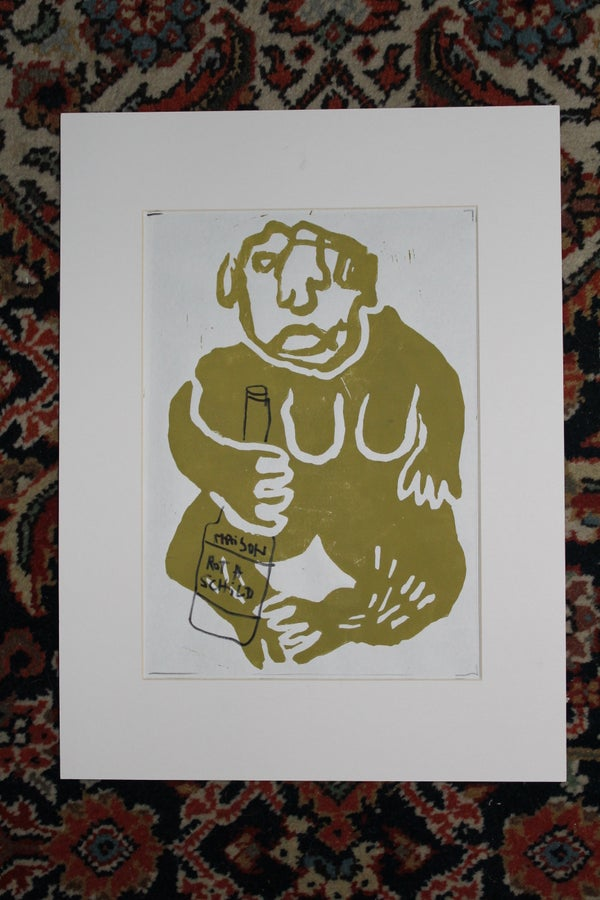 Image of Maison Rothschild Drinkin Ape - Color Linoprint//Drawing