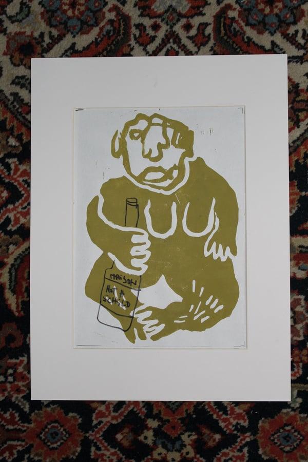 Image of Maison Rothschild Drinkin Ape - Color Linoprint//Drawing