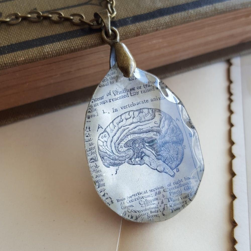 Image of Scientific Brain Diagram Illustration Vintage Book Page Pendant Necklace