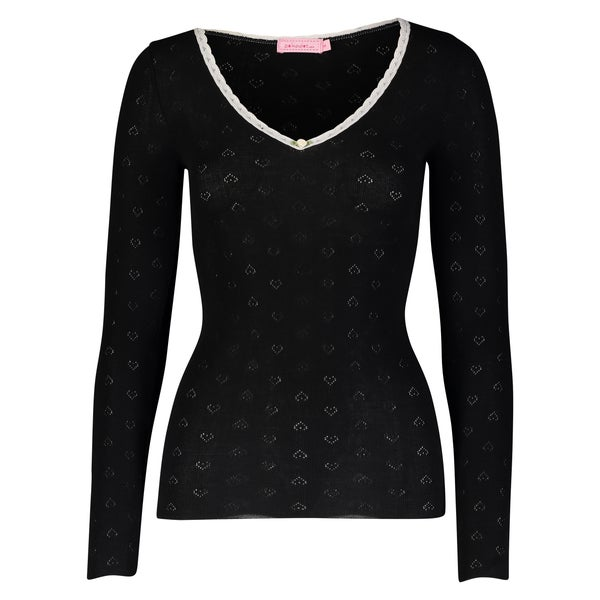Image of Black heart pointelle V neck top