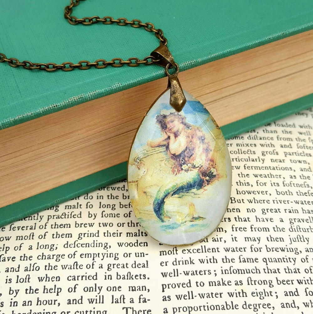 Image of Victorian Mermaid Chandelier Crystal Pendant Necklace