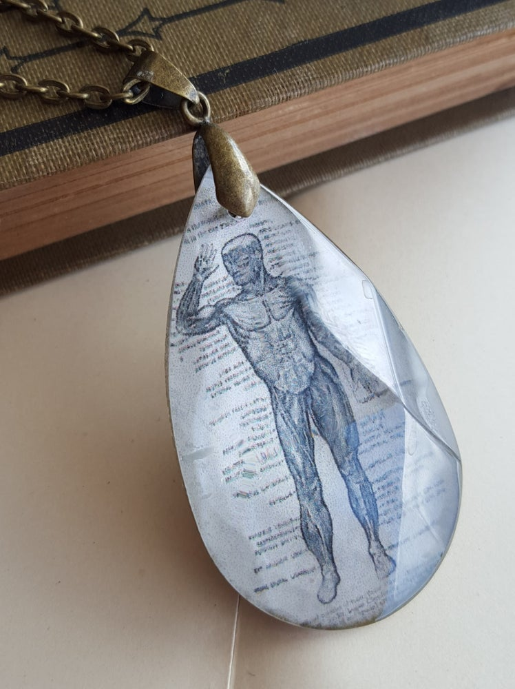 Image of Illustrated Anatomical Man Salvaged Chandelier Crystal Necklace