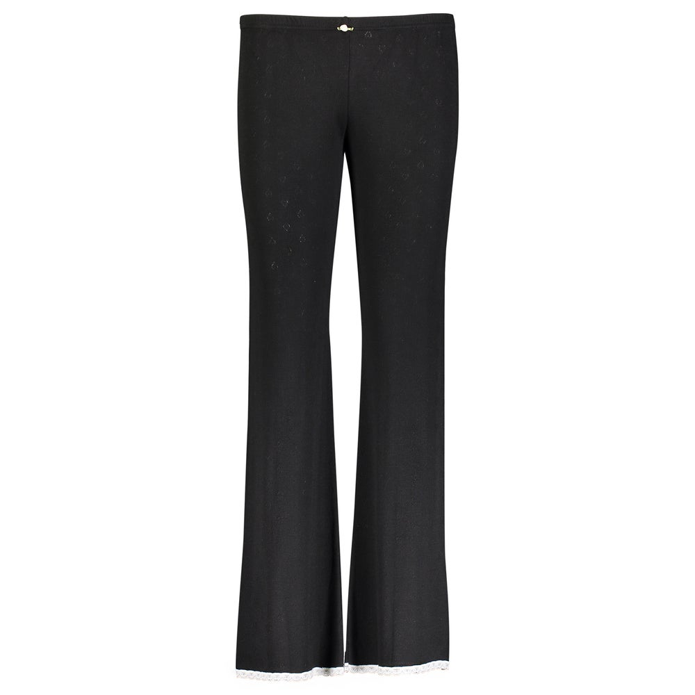 Image of Black heart pointelle long pant