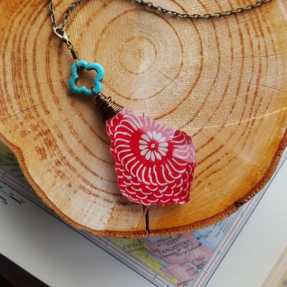 "Image of ""Wanderer"" Carved Turquoise & Bohemian Block Print Pendant Necklace"