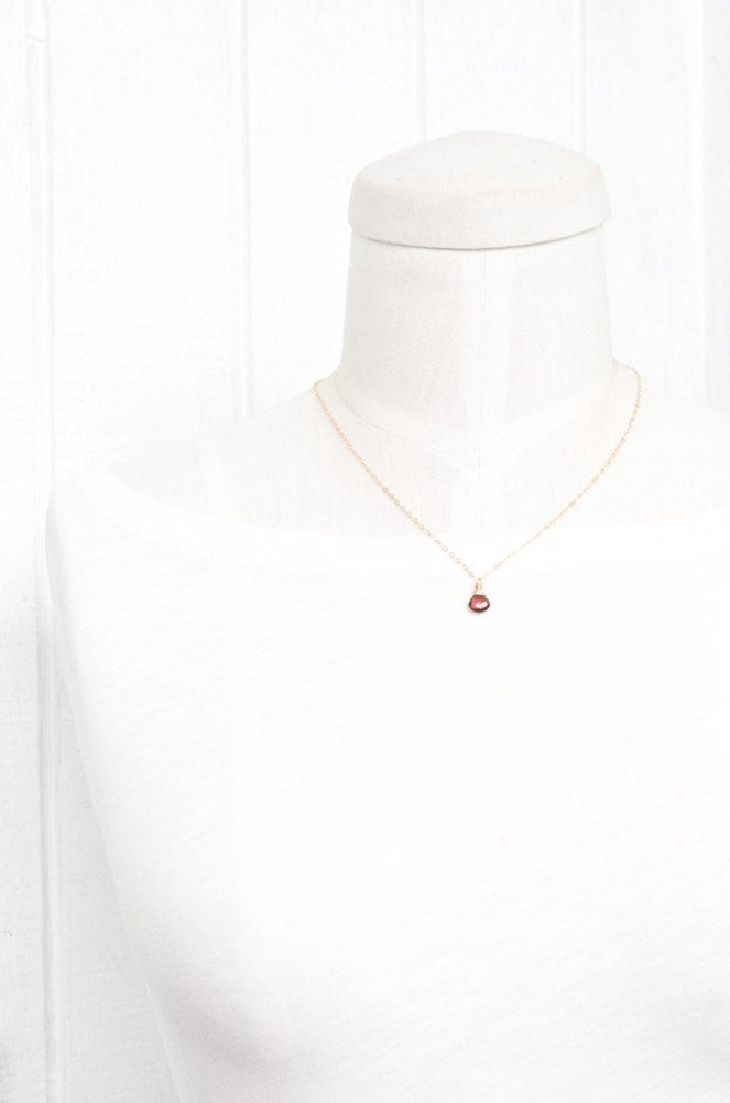 Image of Garnet solitaire necklace