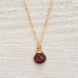 Image of Garnet solitaire necklace 14kt gold-filled January birthstone