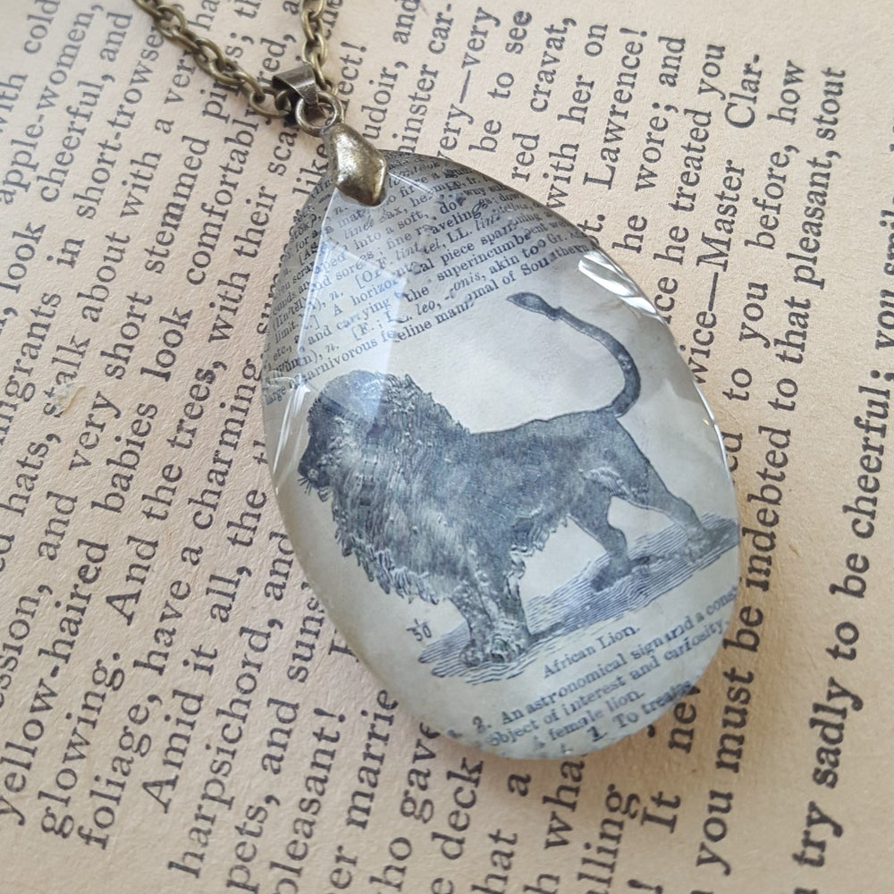 Image of Lion Leo Salvaged Chandelier Crystal & Book Page Pendant Necklace