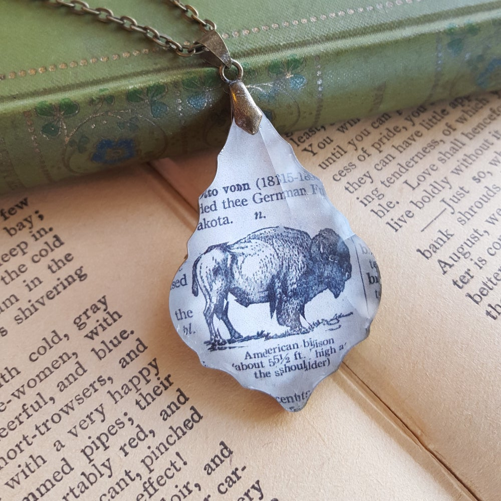 Image of American Bison Buffalo Book Page Pendant Necklace