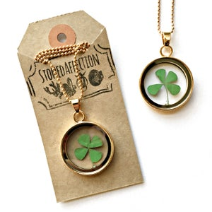 Image of Lucky Four Leaf Clover Glass Locket