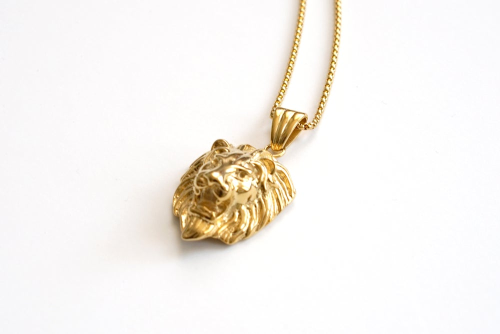 Image of Lion Head Pendant and Necklace