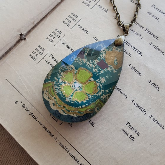 "Image of ""Cedar"" Tibetan Block Print Crystal Necklace Large"