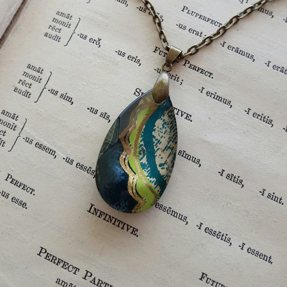 "Image of ""Cedar"" Tibetan Block Print Pendant Necklace Small"