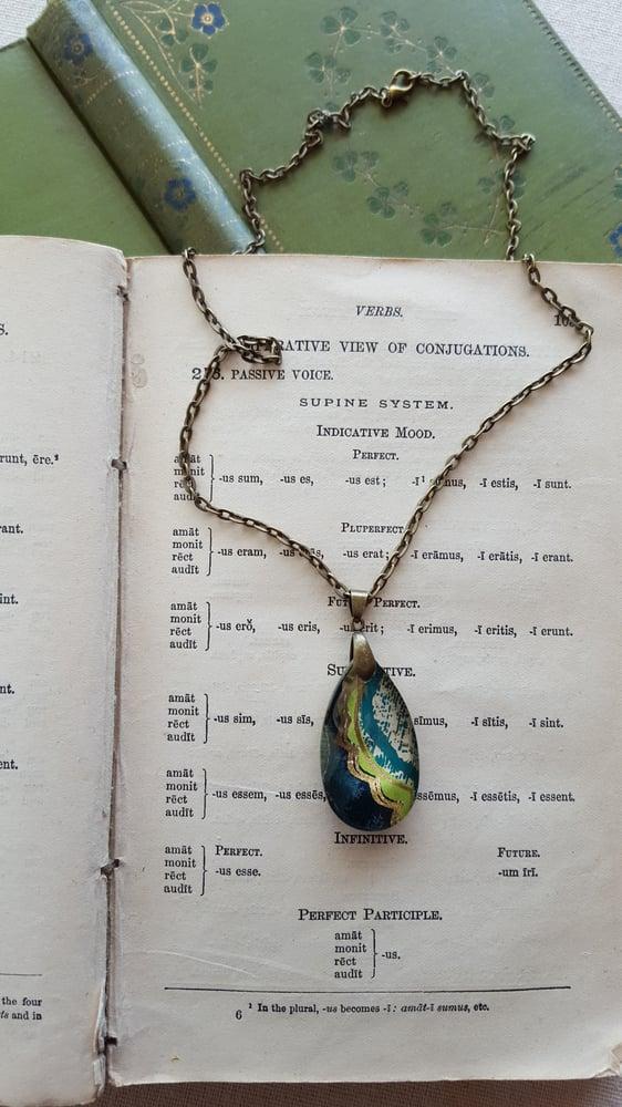 "Image of ""Cedar"" Tibetan Block Print Pendant Necklace Small"
