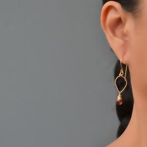 Image of Garnet earrings lotus loop 14kt gold-filled