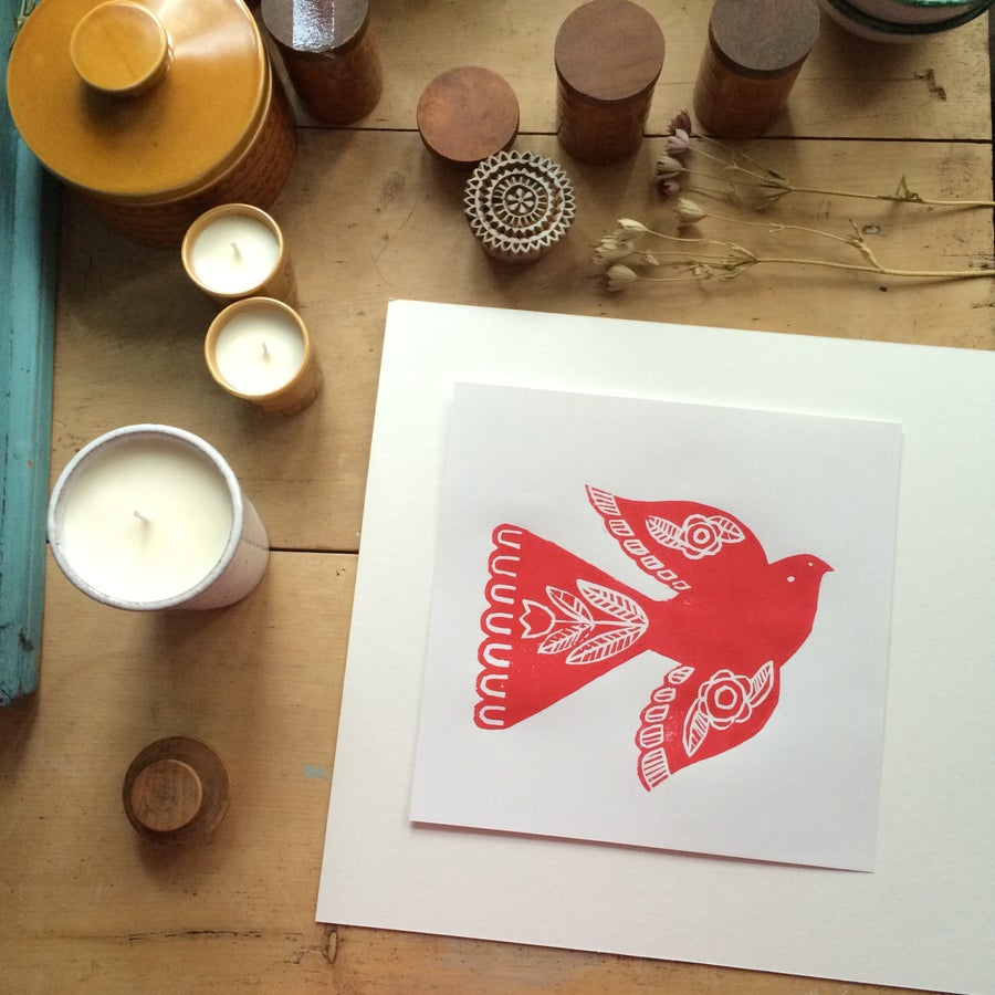 Image of Red Folk Bird Original Print