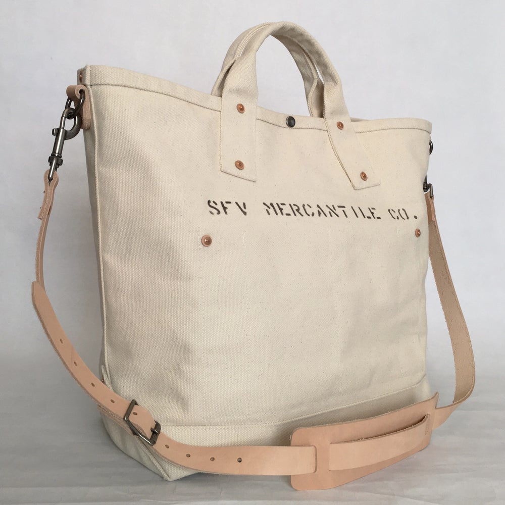Image of SFV MERCANTILE CO. RIVETED CANVAS BAG w/ Adjustable Leather Strap