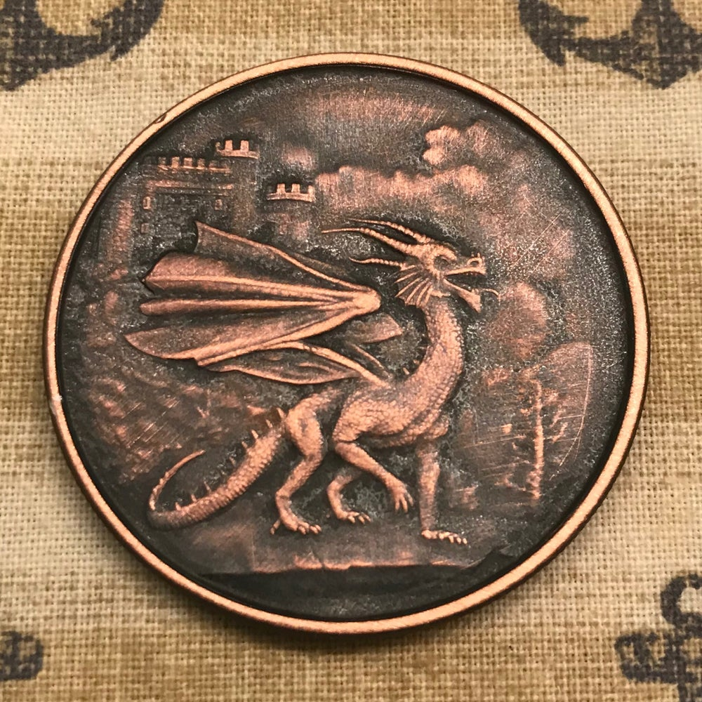Image of Welsh Red Dragon 1oz Copper Challenge Coin