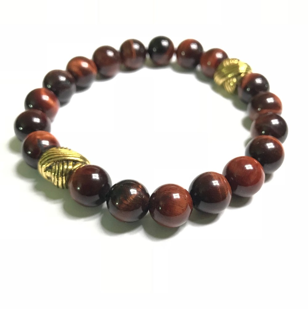 Image of Mens 10mm red tigerseye bracelet
