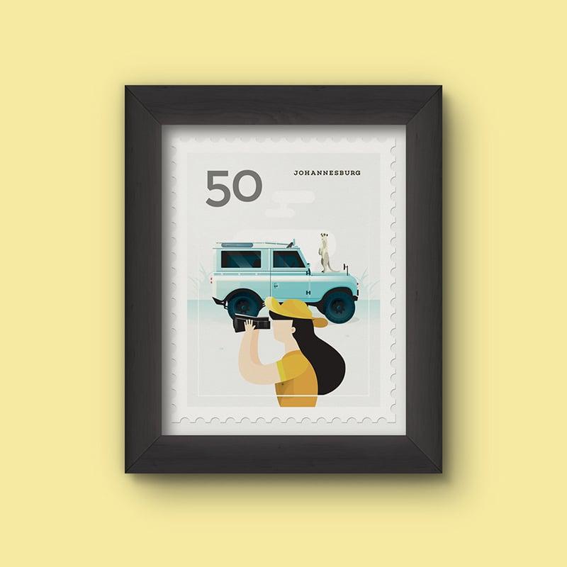Image of Mini Art Print – Stamp / Johannesburg
