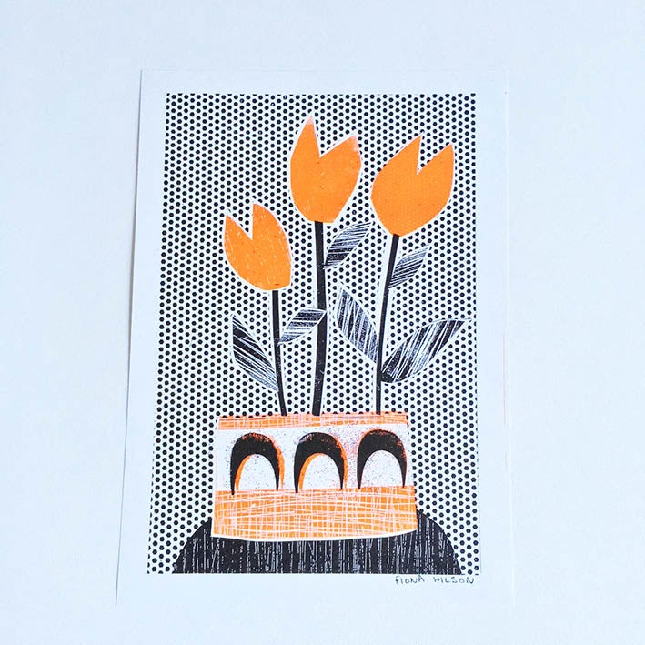 Image of A4 Riso Print - Orange Tulips