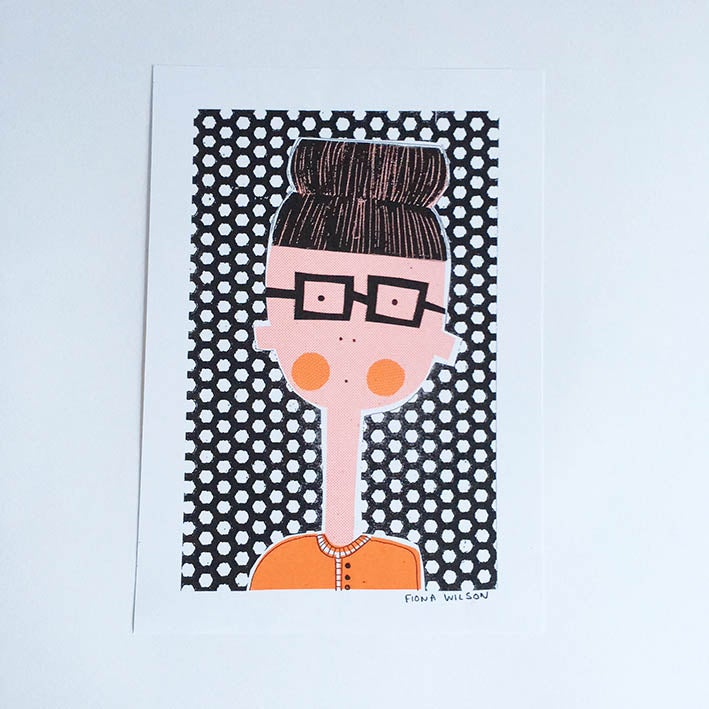 Image of A4 Riso Print - Clementine The Top Knot and Specs Girl