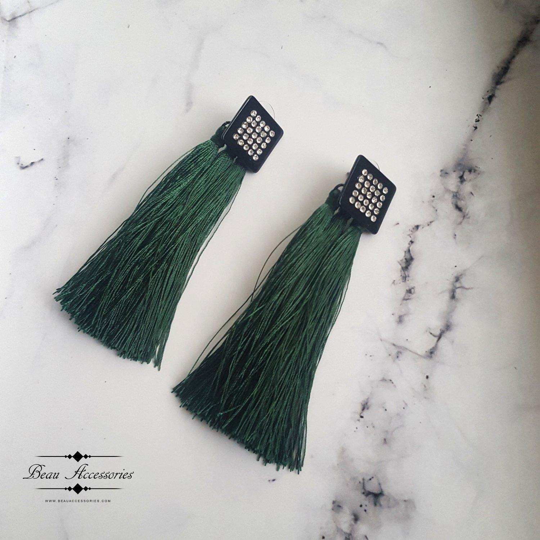 Image of Emerald Green Tassle Earrings