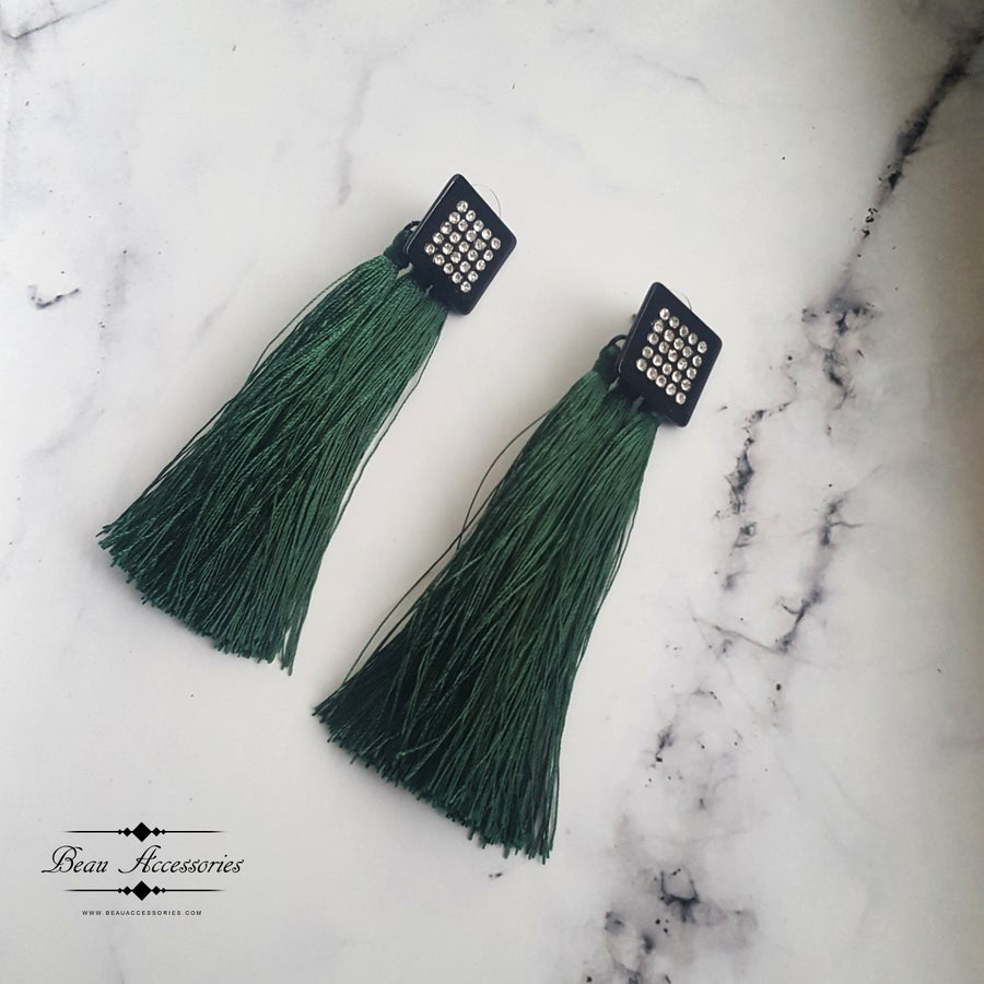 Image of Emerald Green Tassle Earrings