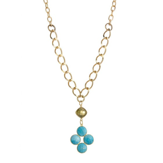 Image of DIAMOND TURQUOISE AND PYRITE NECKLACE