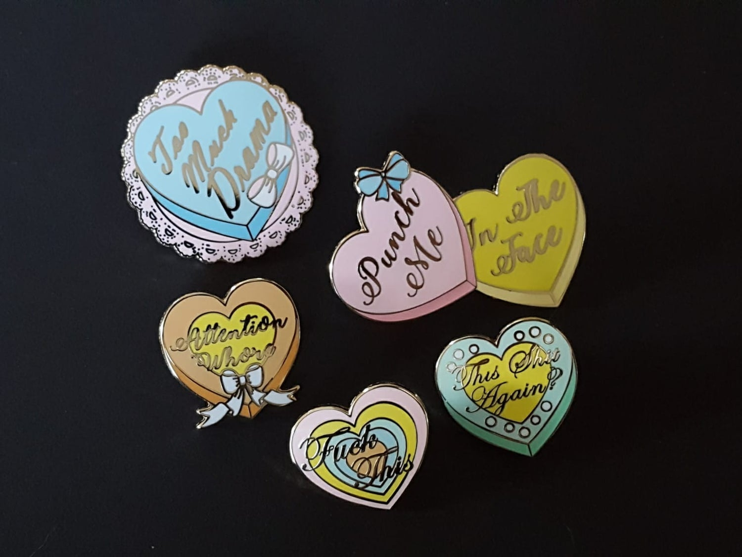Image of Mildly Offensive Sweet Candy Heart Pins!