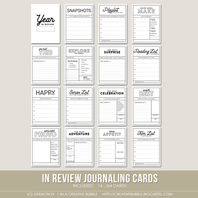 in review journaling cards  digital     in a creative bubble