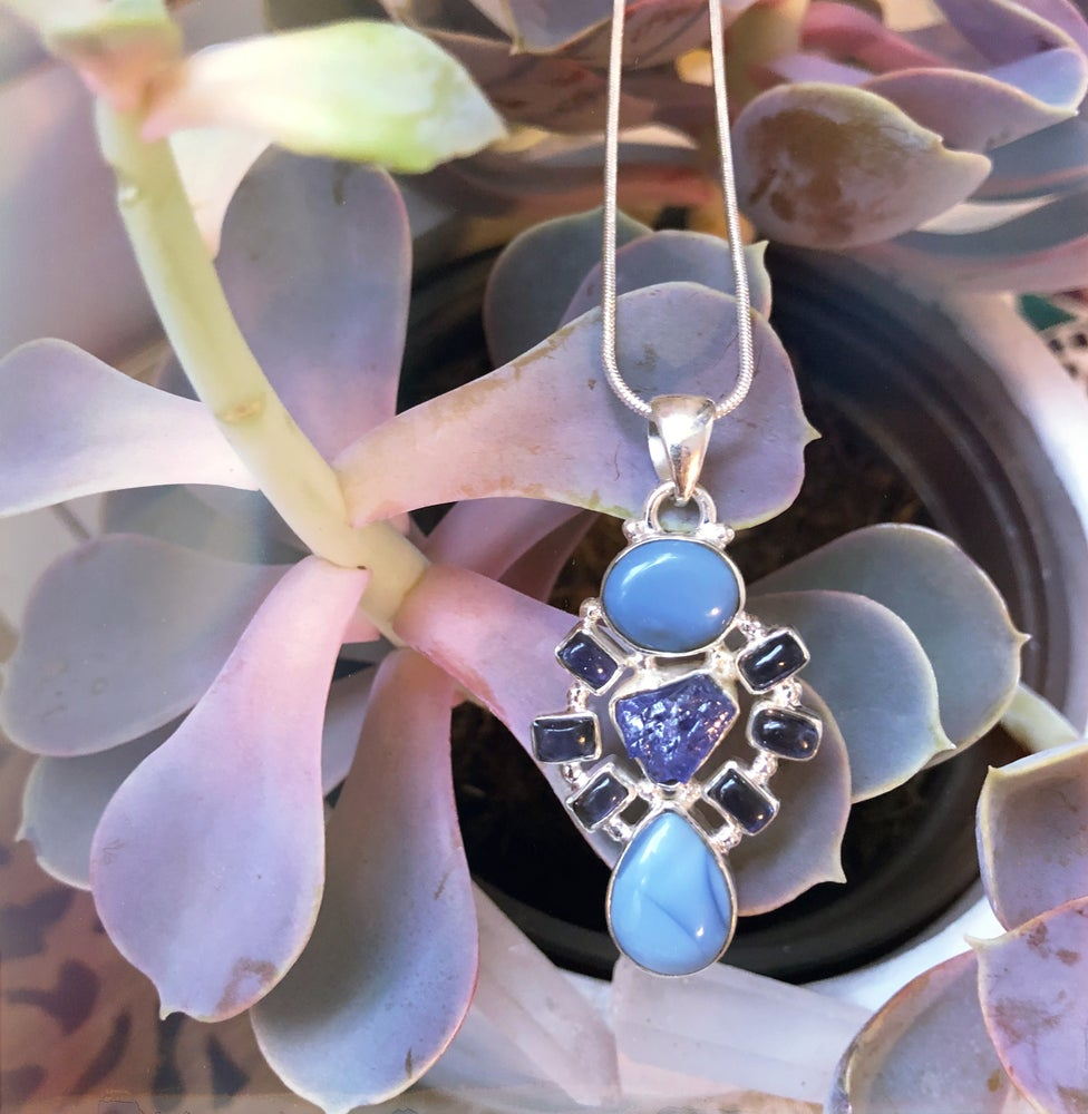 Image of Tanzanite & Owyhee Blue Opal Sterling Silver Necklace