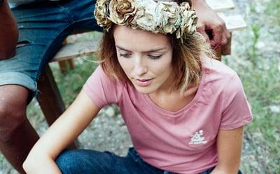 Image of t-shirt sauvage rose brodé
