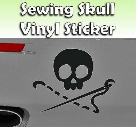 NEW! Sewing Skull Black Vinyl Sticker