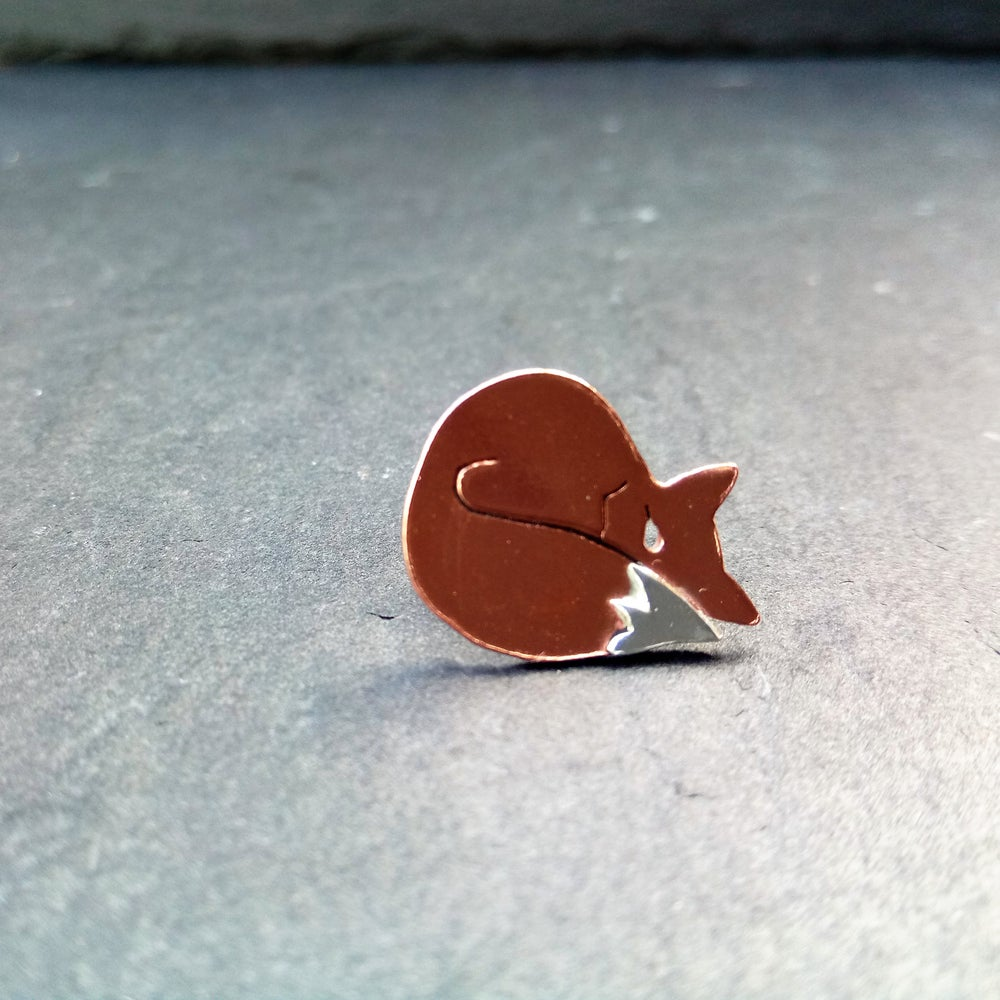 Image of Tiny Sleeping Fox Lapel Tack