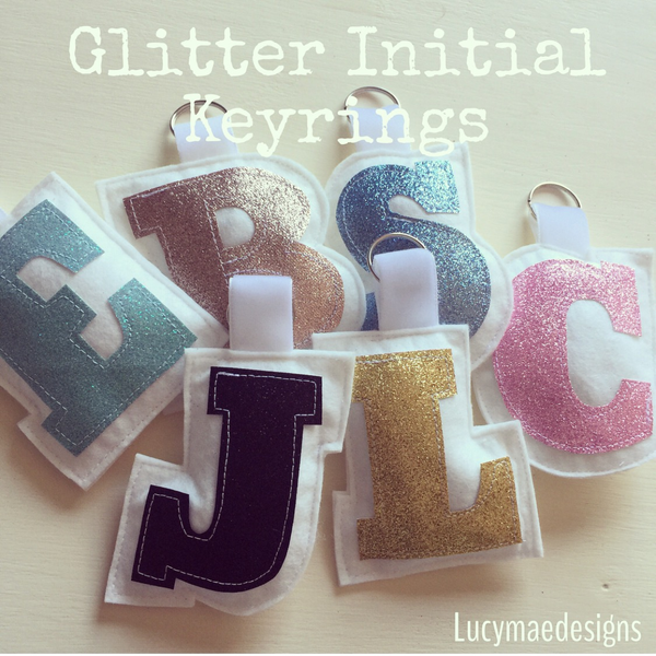 Image of Glitter Initial Keyrings