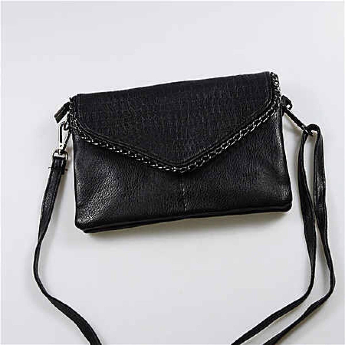 8c8ec2eadf3b Image of All black faux crocodile with chain detail clutch and over  shoulder bag.