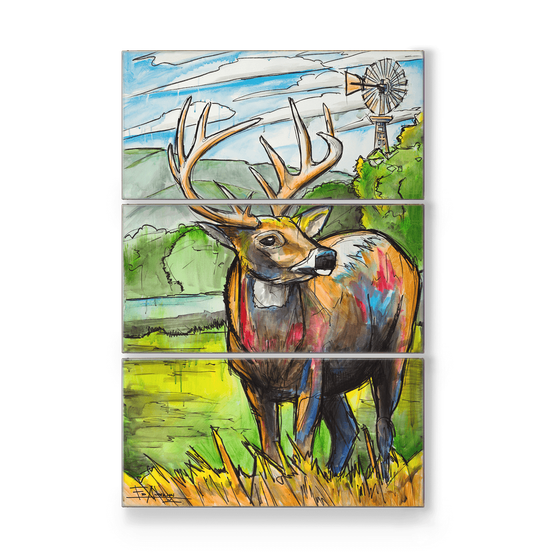Image of Texas Whitetail Buck Metal Box Triptych