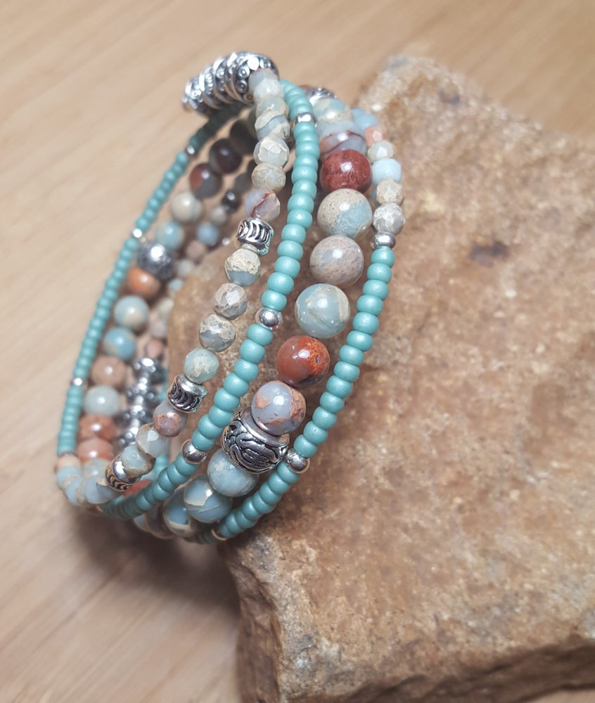 Image of Jasper Gemstone Wrap Bracelet