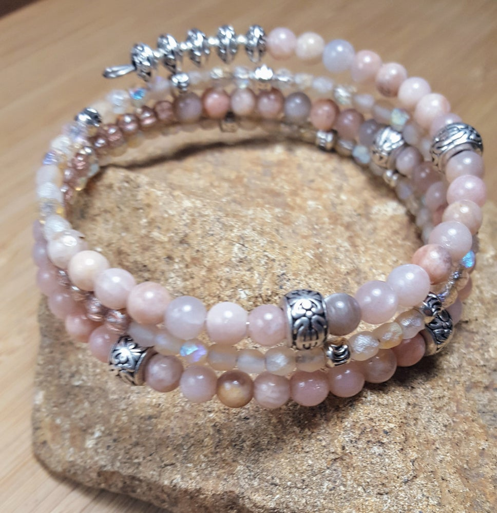 Image of Gemstone  Stacking Wrap Bracelet in Pink