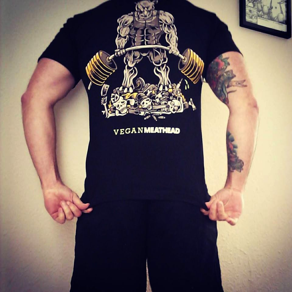 "Image of Vegan Meathead ""Deadlifting Rhino Rage"" T-Shirt"