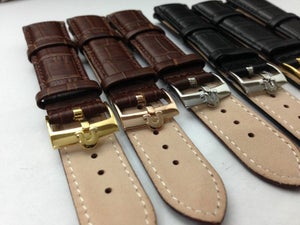 Image of A LOT OF 10 x OMEGA,QUALITY CROC LEATHER STRAPS FOR OMEGA,18MM,20MM,BLACK,BROWN,