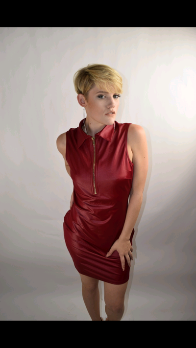 Image of Red collared sleeveless dress