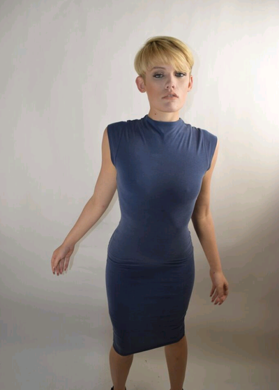 Image of Navy blue fitted tunic Jersey dress
