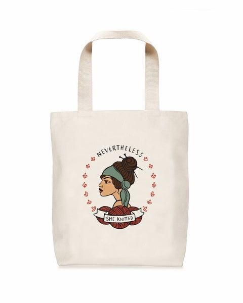 Image of Nevertheless She Knitted Tote
