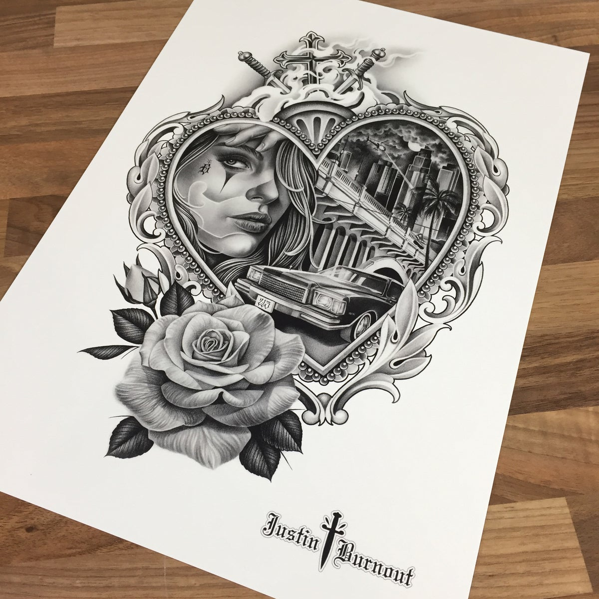 Image of JUSTIN BURNOUT 'MONTE CARLO' print -A3
