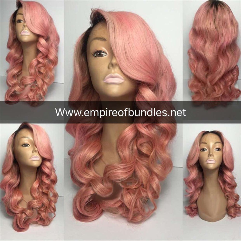 Image of 100% unprocessed pink panther human hair lace front unit
