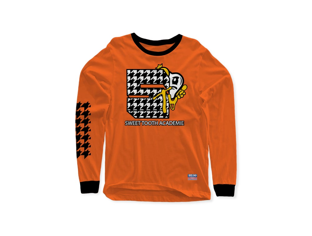Image of STA TV ORANGE & BLACK LONG SLEEVE TEE