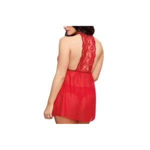 Image of Valentine Red Lace Mesh Babydoll Set